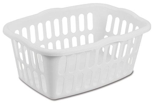 Sterilite 12458012 1.5 Bushel/53 Liter Rectangular Laundry Basket, White, 12-Pack by STERILITE