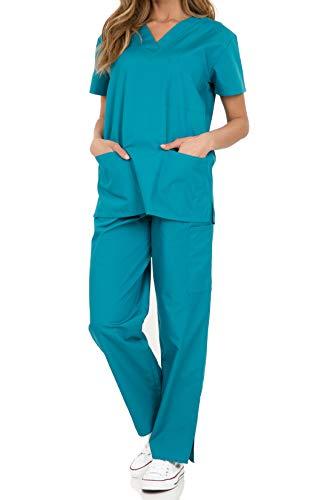 (029 Women's Uniform Scrub Sets Medical Scrubs V-Neck Top and Slim Fit Pants Teal L )