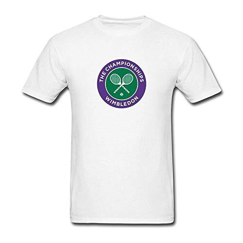 (AUUOTI Men's Wimbledon Championships Short Shirt for Mens Crew Neck T-Shirt L White)