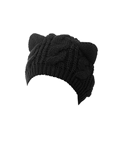 OBO Bands Hot Sale Women's Hat Cat Ear Crochet Braided Knit Caps Black