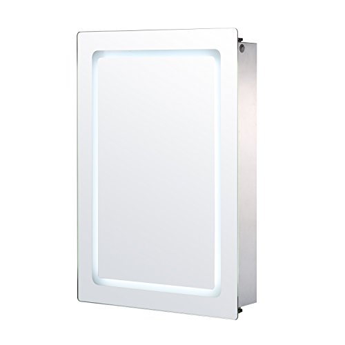 HomCom 30″ x 21″ LED Sliding Bathroom Mirror / Medicine Wall Cabinet