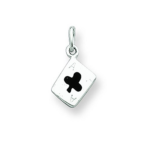 Sterling Silver Enameled Ace Of Clubs Card ()
