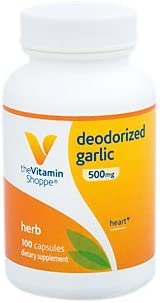 The Vitamin Shoppe Deodorized Garlic 500MG, Wholesome Garlic with No Aftertaste All Cardiovascular Benefits, Equal to 1 Fresh Clove of Garlic 100 Capsules
