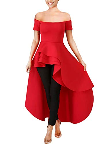 (Women's Sexy Off Shoulder Short Sleeve Layer Peplum Ruffle High Low Tops Blouse Party Cocktail Shirt Dress Red M)