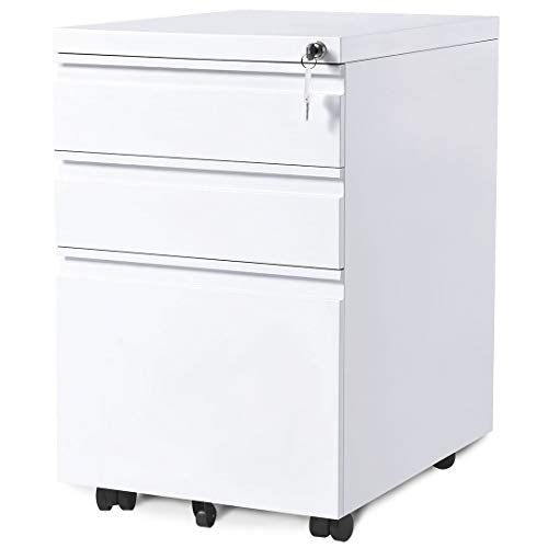 3 Drawers Mobile File Cabinet with Lock, White File Cabinet with Wheels, Fully Assembled