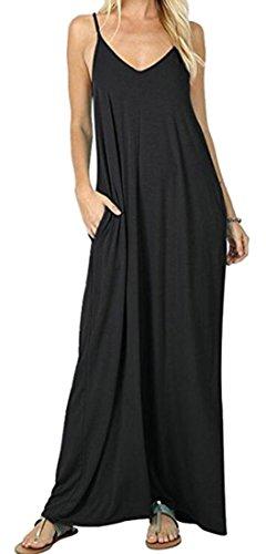 Les Femmes Domple Manches Solide Sexy Dos Nu Ample Robe Maxi Avec Des Poches Noires