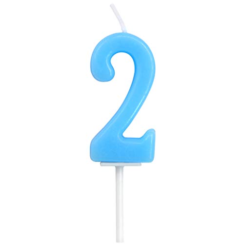 Birthday Candle Numbers, Dollet Cute Blue Birthday Cake Candle Number 2