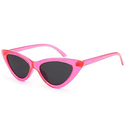 Livhò Retro Vintage Narrow Cat Eye Sunglasses for Women Clout Goggles Plastic Frame (Barbie Powder)