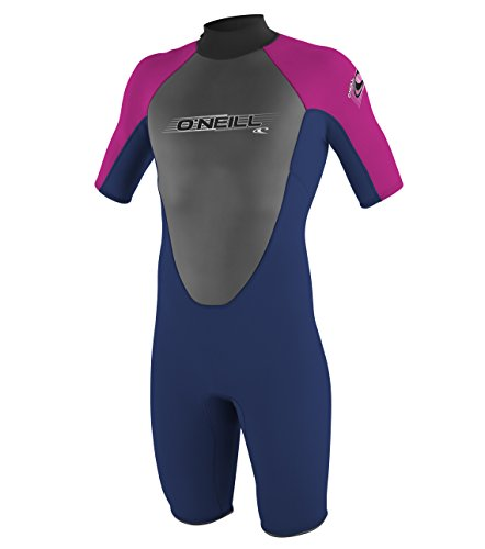 O'Neill Wetsuits Mädchen Neoprenanzug youth reactor 2 mm S/S spring, Navy/PunkPink, 10, 3803-BB4