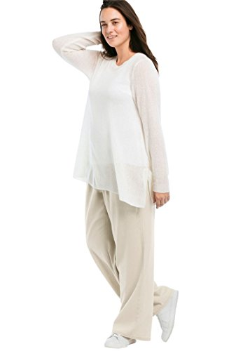 Ellos Women's Plus Size Linen Blend Wide Leg Pants Stone,18 -