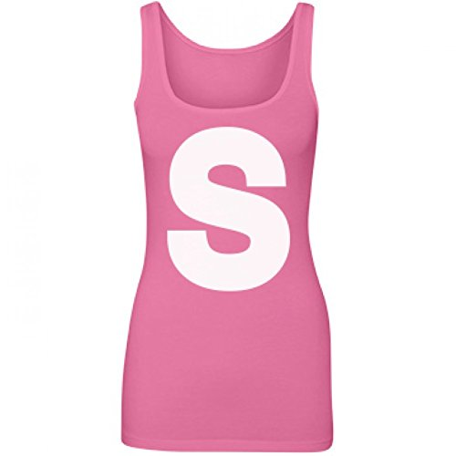 [Candy Group Costume Pink: Junior Fit Longer Length Tank Top] (College Girls Group Halloween Costumes)