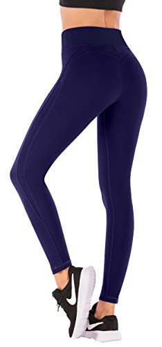 fc58140ca94f1 IUGA Yoga Pants with Pockets Workout Leggings for Women 4 Way Stretch Yoga  Leggings with Pockets (Navy 7850, Small)
