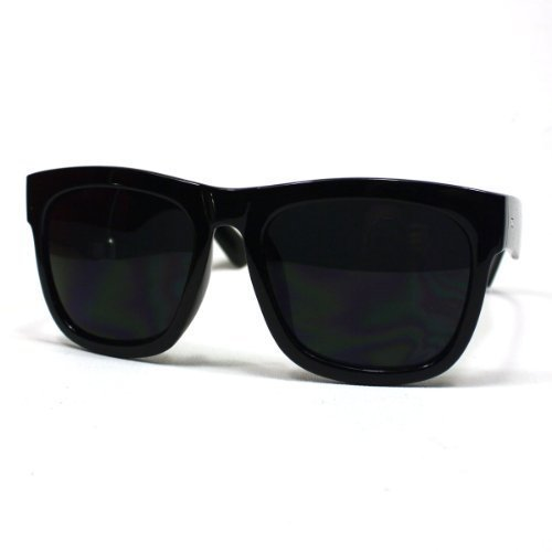 Oversized Sunglasses Super Dark Lens Black Thick Horn Rim - Dark Sunglasses