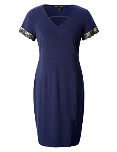 Chicwe Women's Plus Size Stretch Bodycon Dress with Front Slit and Lace Trimmed Cuff Navy 4X