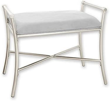 Amazon Com Harlow Vanity Bench In Brushed Nickel Furniture Decor