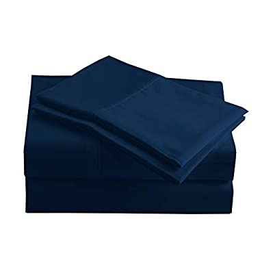 Peru Pima - 415 Thread Count - 100% Peruvian Pima Cotton - Percale - Bed Sheet Set (Queen, Navy Blue)