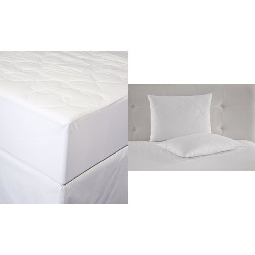 Perfect Fit Silky Cotton Mattress Pad, King, White and Perry Ellis Quilted White Duck Feather Pillow (Set of 2), Queen, White