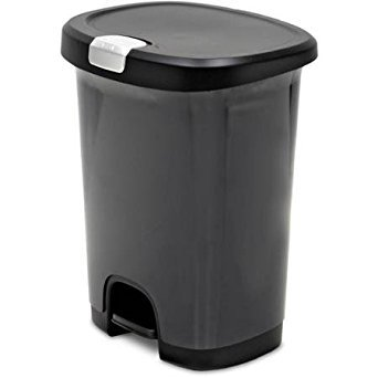 Hefty 7-Gallon Textured Step On Waste Can with Lid Lock and Bottom Cap
