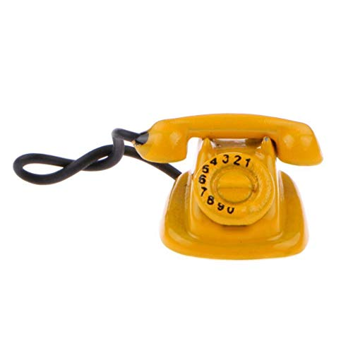Agordo Dollhouse Miniature Yellow Rotary Dial Telephone Desk Phone Lounge Room Deco