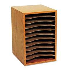 ** Wood Vertical Desktop Sorter, 11 Sections 10 5/8 x 11 7/8 x 16, Medium Oak