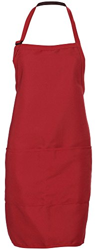 Men's Bib Apron with Front Pocket and Tunnel Ties, Burgundy (50s Haircuts)