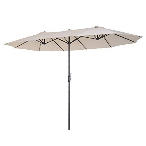 Outsunny 15′ Steel Rectangular Outdoor Double Sided Market Umbrella – Cream White