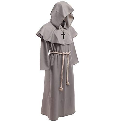 BLESSUME Medieval Friar Robe Hooded Monk Cap Cloak Renaissance Costume (XL, Gray)
