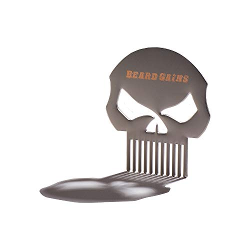 The Punisher Skull Logo Metal Pocket Mustache Comb – Beard Gains