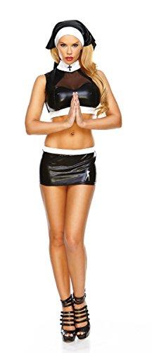 [Hustler Women's 3Pc Naughty Nun Costume ML Black] (Naughty Nun Halloween Costumes)