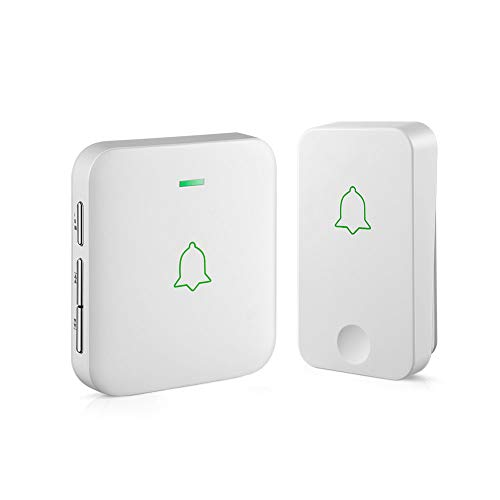 AVANTEK Self-Powered Wireless Doorbell, 1 Battery-Free Button and 1 Plug-in Receiver, IPX7 Waterpoof and Dustproof Door Bell Chime with 52 Melodies, 5 Volume Levels and CD Quality Sound