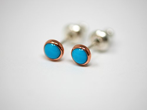 Tiny Sleeping Beauty 4mm Turquoise, Copper, and Sterling Silver Stud Earrings