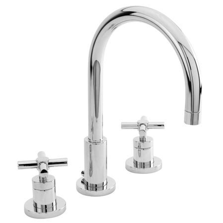 Newport Brass 990 East Linear Double Handle Widespread Lavatory Faucet with Meta, Polished Chrome