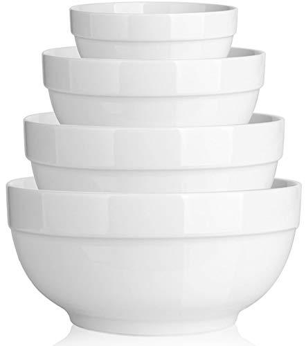 DOWAN Porcelain Serving Bowls, 64/42/22/12 Ounce Nesting Bowls, White Ceramic Bowl Sets, Versatile Bowls for Kitchen…