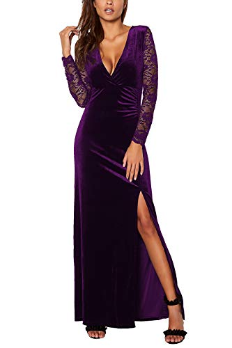 - Meenew Women's Vintage Velvet Long Evening Dress V Neck Cocktail Dress Purple XL