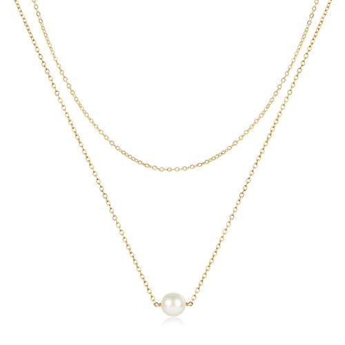 LOYATA Pearl Necklace, Simple Dainty 14K Gold Plated Layered Chain Necklace Triple Mini Pearl Bar Necklaces for Women