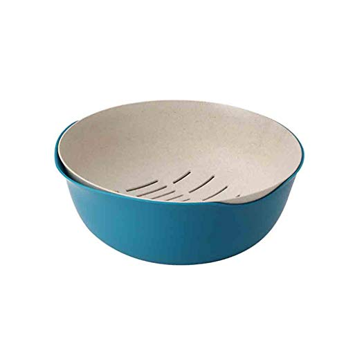 (2 in 1 Wash Rice Mesh Sieve Strainers Kitchenn Tools Bowl Collapsible Colander, Over The Sink Strainer With Steady Base For Standing, Dishwasher-Safe,BPA Free (Blue))