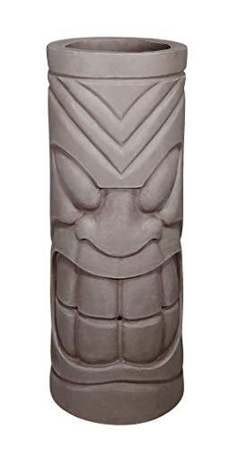 Alpine Corporation QFC222 Tiki God Smiling Stone Planter, 24 Inch Tall, Grey (Alpine Planter)