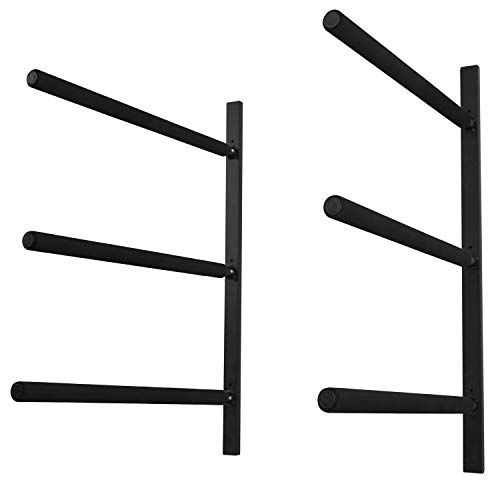 Yes4All Heavy Duty Steel Wall Mount Paddle Board Racks, Surfboard Hanger with Padded Foam, Store & Display Up to 3 Surfboards, Snowboards, Longboards