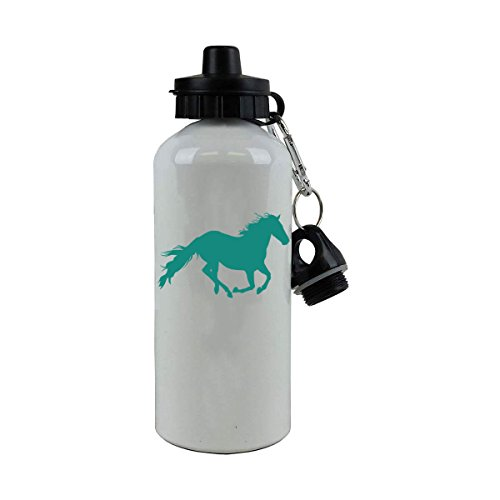 Personalized Custom Horse Aluminum White Finish 20 Ounce 600ML Sport Water Bottle Customizable (Teal)