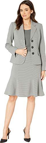 (Le Suit Women's 3 Button Notch Collar Flare Skirt Suit, Forest Multi, 16)