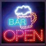 E-ONSALE Beer Mug Bar Cocktails OPEN LED Moving Neon Sign - 19 x 19 LB84