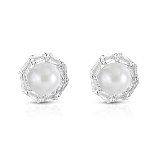 Unique Royal Jewelry 925 Sterling Silver Tapered Baguette Cubic Zirconia Cultured Freshwater Pearl Circular Classic Designer Pierced Post Stud Earrings. (Rhodium-Plated Sterling Silver)