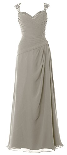Silber Women Gown Open Sleeves Long Formal Bride Dress Back Mother of Party MACloth Cap OBwdOF