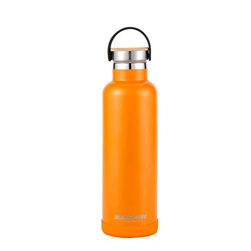 KANGFUTE Leak-Proof Standard Mouth Water Flask, 18/8 Stainless Steel Insulated Water Bottle, Orange, 21oz