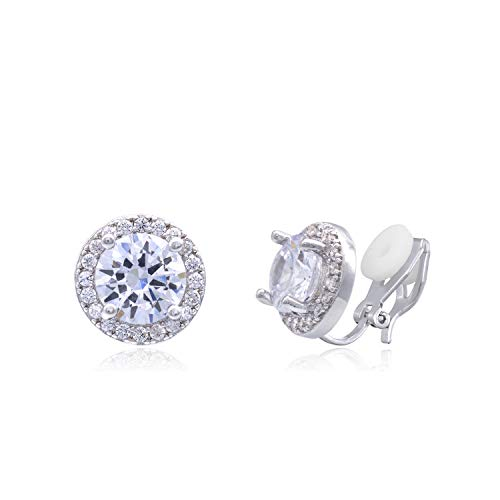 (YOQUCOL Bright 8mm Cubic Zirconia Crystal Clip On Stud Round Non Pierced Earrings For Women Girls)