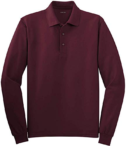 (Joe's USA - Mens Size Large Long Sleeve Polo Shirts in 10 Colors Burgundy)