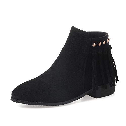 Up Primavera Zip Botines Moda Hoesczs Black Otoño Zapatos Mujer Flecos 2018 Calzado De ASAxH