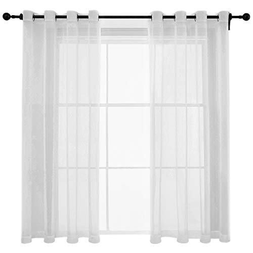 Glamour Curtain Panel - White Sheer Curtains Voile Grommet Semi Sheer Curtains for Bedroom Living Room Set of 2 Curtain Panels 54 x 63 inch