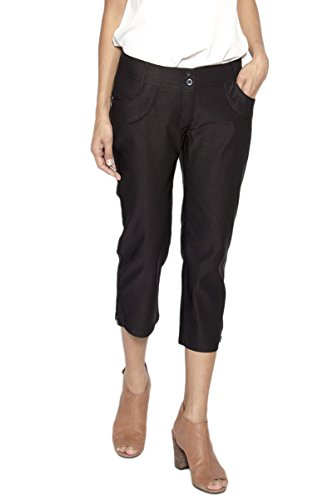 - TheMogan Women's Button Cuffs Mid Rise Stretch Capri Crop Pants Black M
