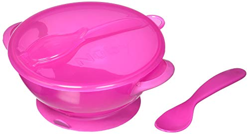 Nuby Easy Go Suction Bowl with Lid and Snap-In Spoon, Colors May Vary
